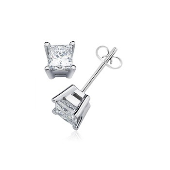 Angara V-Prong Diamond Basket Stud Earrings in Platinum iVVNEkrT8