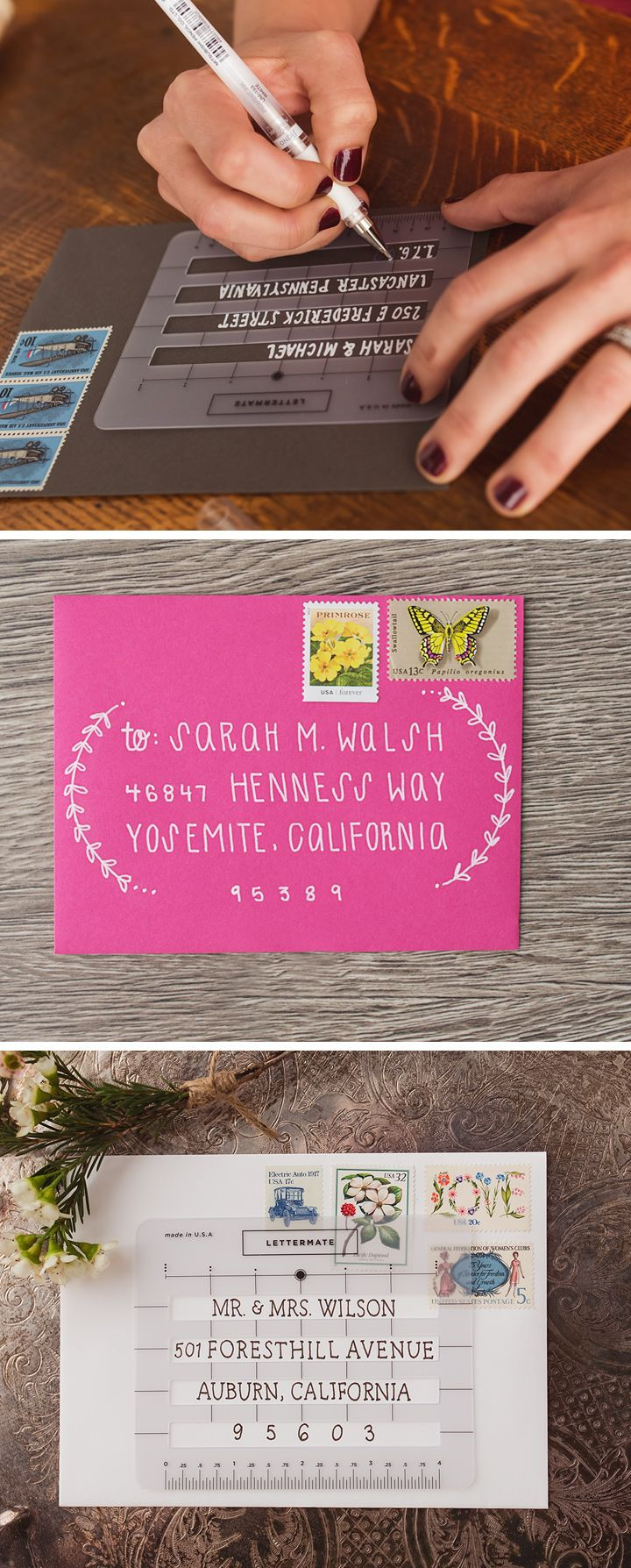 The Lettermate is an address stencil that keeps your writing straight and aligned, as well as letting you decorate your envelopes with hand-drawn designs.