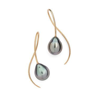 McCaul Goldsmiths. 18ct rose gold and Tahitian black pearl drop earrings by McCaul Goldsmiths