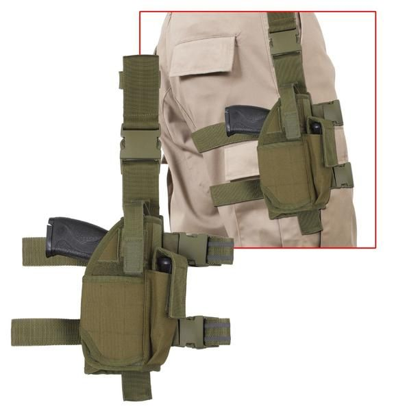 Olive Drab - Adjustable Holster Fits most sized Frames Dual Adjustable Leg Straps w/ Quick Release Buckles Quick Release Belt Clip Adjustable Thumb Snap Clip Po