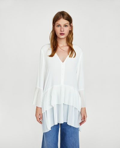 1164be823d256 Image 2 of CONTRASTING PLEATED BLOUSE from Zara