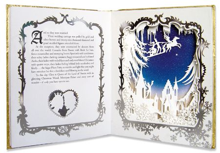 The Nutcracker as illustrated by Jan Pienkowski. Each illustration is a silhouette cut from white paper and layered into a 3D image...totally a Christmas present for my niece when she's older :-)