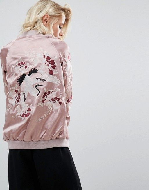 River Island | River Island Studio Embroidered Bomber Jacket