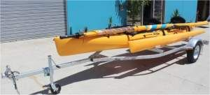 Kayak Trailer designed for Hobie Tandem Island sailing kayaks