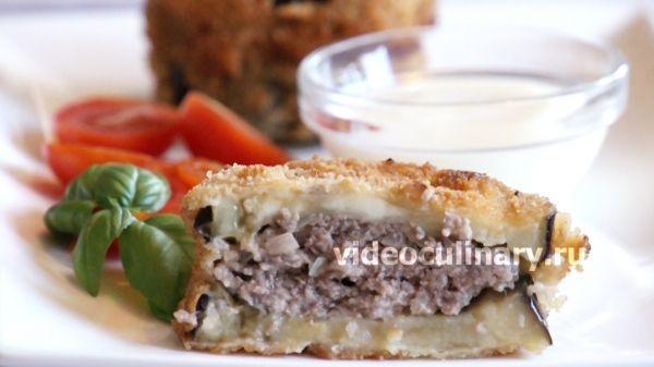 Жареные баклажаны с мясной начинкой
