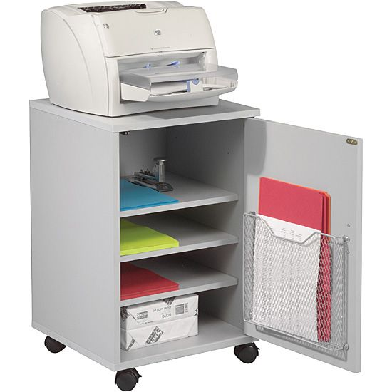 Free up valuable desk space when you use this mobile printer and fax stand from Balt. The compact stand features three adjustable shelves for storing assorted supplies, and the lockable wheels allow you to move the entire setup when necessary.