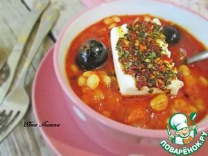 Густой томатный суп с белой фасолью