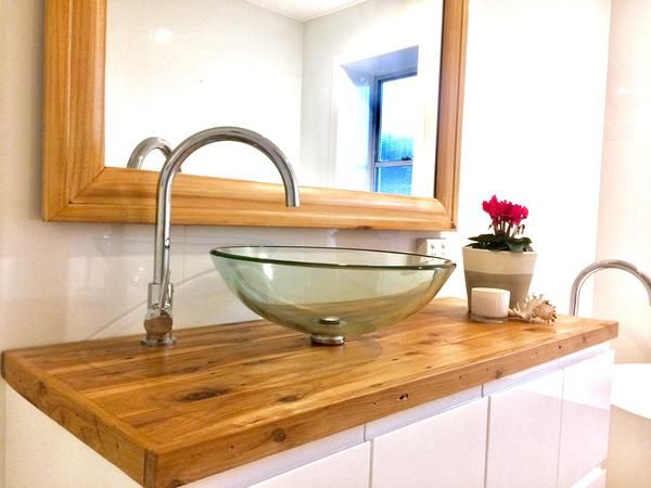 Cypress Pine Vanity - Clear coat finish  Ideal to make your an amazing space, we make each Table Top by hand, from 100% reclaimed Gold Coast materials.   Size and Dimensions:   Width 460mm  Length 1180mm  Depth 40mm     Call to Order today   0478 825 224  Email your Order      sandndesigners@gmail.com  Order Online            www.sandndesign.com.au  Instagram                sandndesign