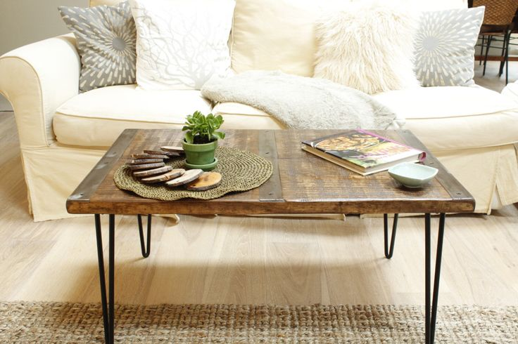 Reclaimed wood coffee table with inlaid metal strips, Industrial coffee table, urban coffee table, reclaimed wood table, vintage look by ReclaimedWoodUSA on Etsy https://www.etsy.com/listing/242208393/reclaimed-wood-coffee-table-with-inlaid