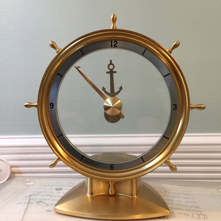 Excited to share the latest addition to my #etsy shop: Jefferson Golden Helm, Mystery Clock, Mid Century Home, Electric Ships Wheel,  Nautical Home Decor #clock #mysteryclock