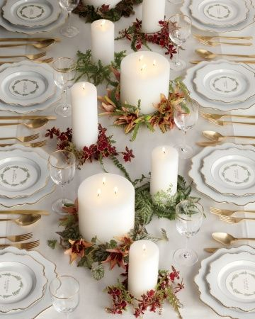 Swapping christmassy conifers for greenery and florals make these pillar candles work for any season