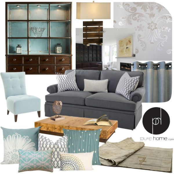 Chic blue and grey living room - Grey and blue living room furniture ...