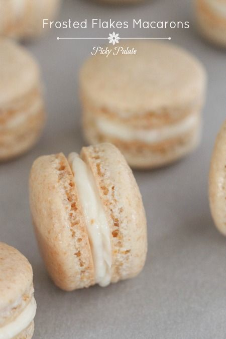 Frosted Flakes Macarons by Picky Palate- these look DELICIOUS. All my childhood cereal dreams realized in a single bite.