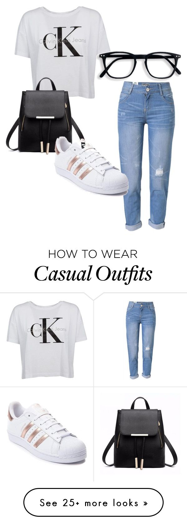 """""""CK Casual"""" by elletay on Polyvore featuring Calvin Klein, WithChic, adidas, casualoutfit and CalvinKlein"""