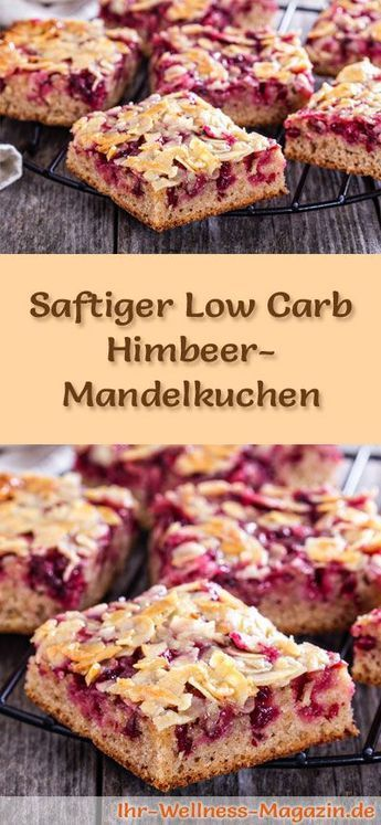 Rezept für einen saftigen Low Carb Himbeer-Mandelkuchen: Der kohlenhydratarme Kuchen wird ohne Zucker und Getreidemehl gebacken. Er ist kalorienreduziert, ...