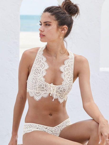Sara Sampaio $35 Victoria's Secret Floral Lace Detail Edge White Bra Bralette Matching Lingerie Underwear Set