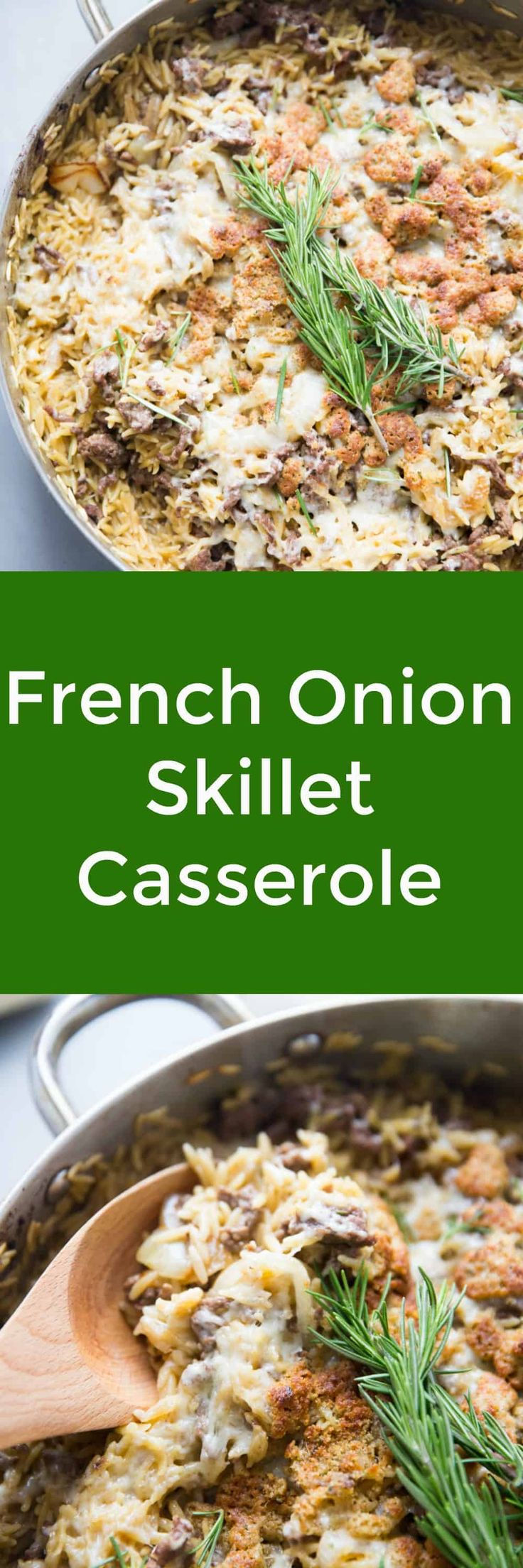 This skillet beef casserole is for the French onion lovers! Caramelized onions, beef, seasoning, orzo and Gruyere cheese come together in a comforting and simple one pot casserole! via @Lemonsforlulu