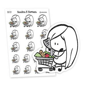 Planner stickers Ensi -  Grocery Basket, S0127, Grocery Shopping Stickers, Cute Stickers, Food stickers, Food Basket Planner stickers