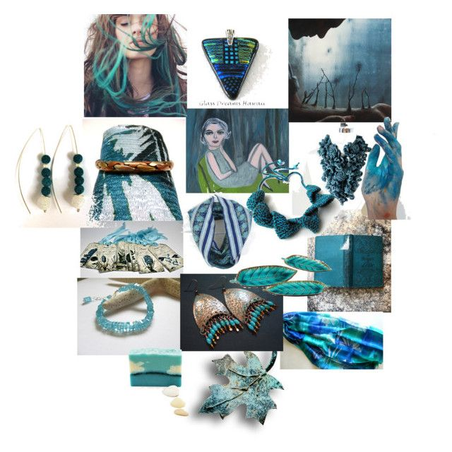 Teal Beauties by anna-recycle on Polyvore featuring Howard Elliott, modern, rustic and vintage