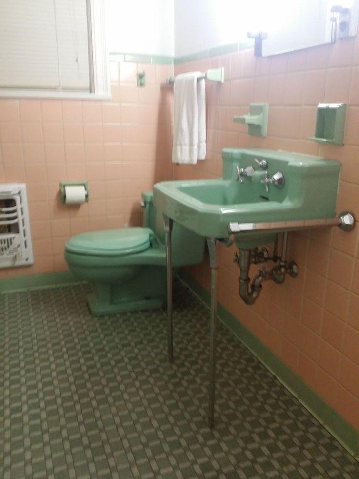 Vintage Ming Green Porcelain American Standard Sink 1950s