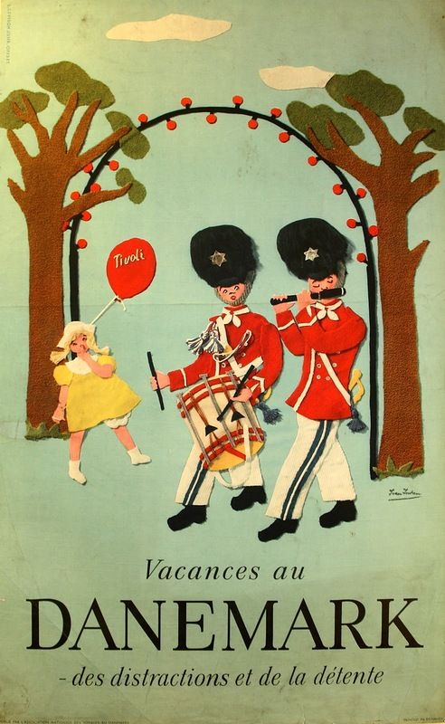 Vintage Denmark holidays travel poster