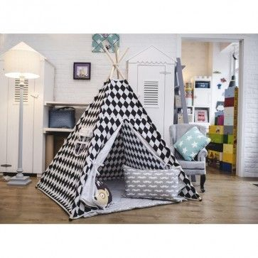 Hand made #Monochromatic #Children's #Teepee perfect for #modern and #Scandinavian #nursieries and #baby #bedroom.  Buy online exclusively at #funique #funiqueuk.