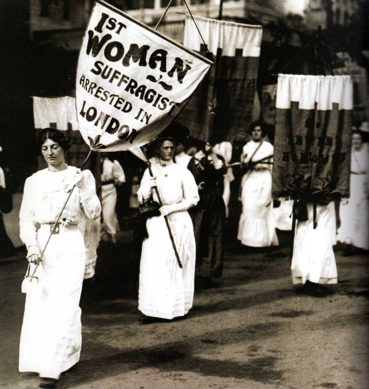 Suffragettes marching to protest the first arrest of a suffragette in London - 1908