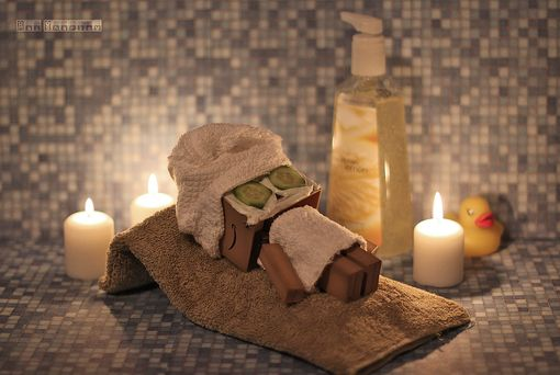 Danbo at the spa