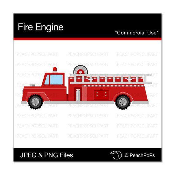 cute Fire Engine clipart digital clip art cute by peachpopsclipart, $4.00
