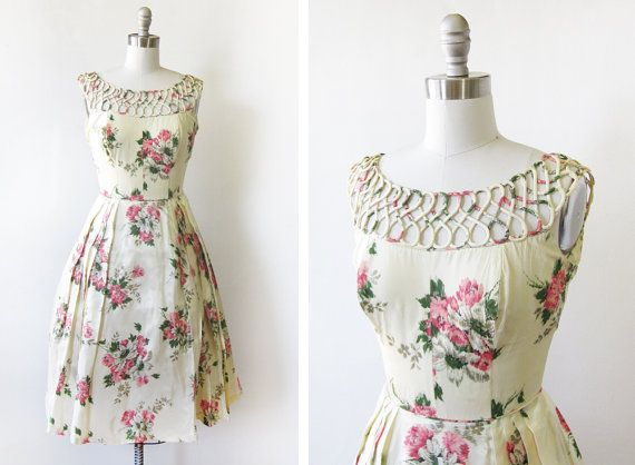 SALE 1950s dress / vintage 50s floral party by RustBeltThreads, $212.00