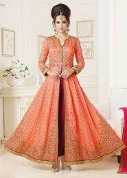Wedding Wear Peach Viscose Embroidered Work Anarkali Suit