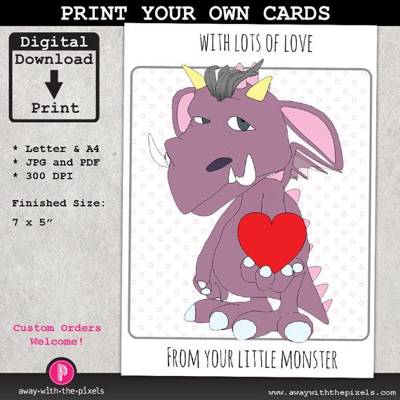From Your Little Monster, Printable Greeting Card, Instant ...
