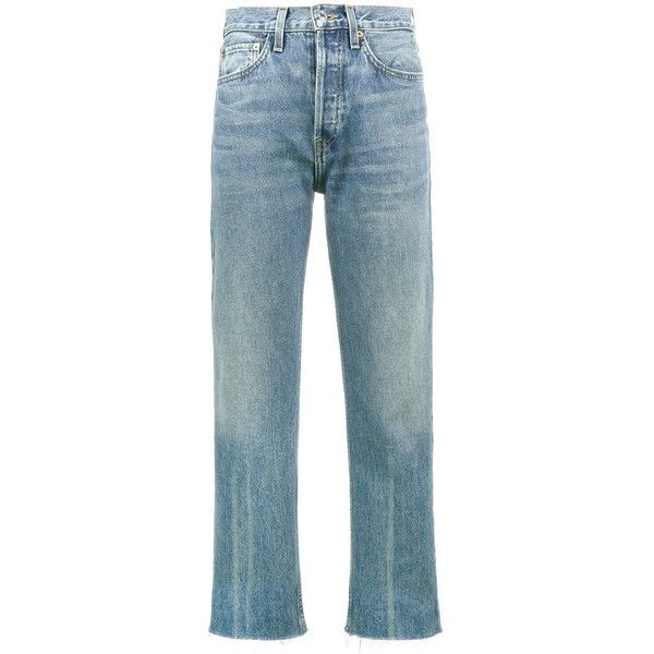 Re/Done Originals High Rise Stove Pipe Jeans (315 CAD) ❤ liked on Polyvore featuring jeans, clothing /, denim, kirna zabete, highwaist jeans, medium wash jeans, re done jeans, raw hem jeans and high rise jeans
