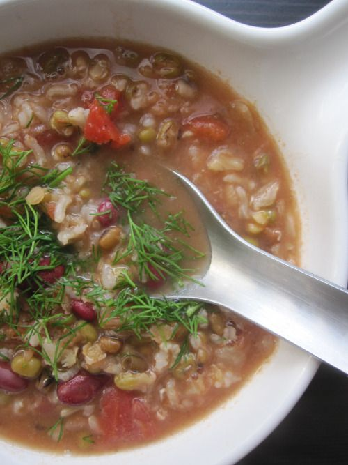 Soupe aux légumineuses et au riz