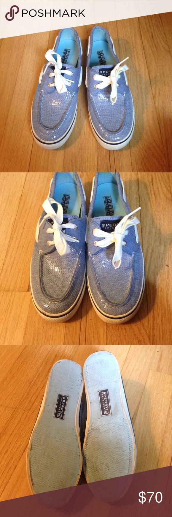 ⛵SALE!⛵️️ Sperry Boat Shoes - size 6.5 Sperry Shoes Light blue w/clear sequins - size 6.5. In great condition with very minimal signs of wear. See pics for details. Sperry Top-Sider Shoes