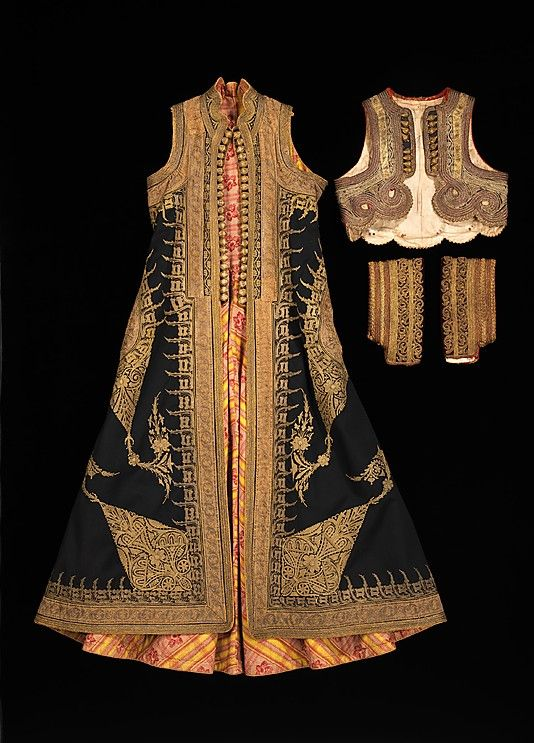 A rich variety of decoration contributes to the opulence of this ensemble. Couched embroidery, metal ornamentation and a range of textiles from velvet to printed cotton lend it an opulent air. It is particularly notable to have such a complete ensemble in such good condition.