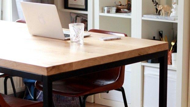 DIY: eikenhouten tafel met stalen frame