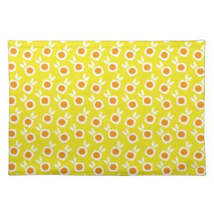 square flowers yellow placemat - retro kitchen gifts vintage custom diy cyo personalize