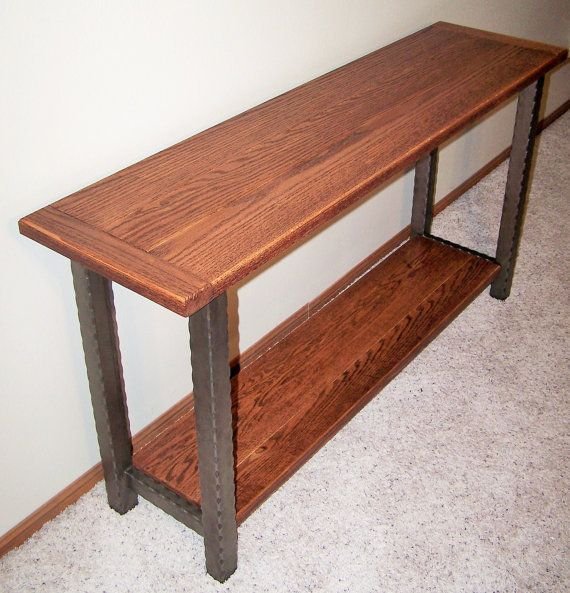 Hammered Steel Oak Console Table 60 X 16 By Crea