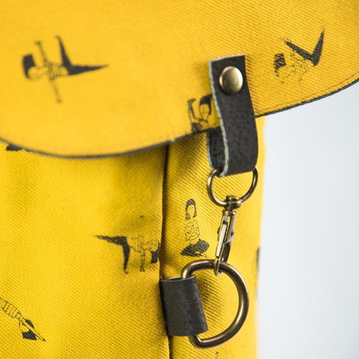a hand-made yellow yoga mat bag + screen printed pattern