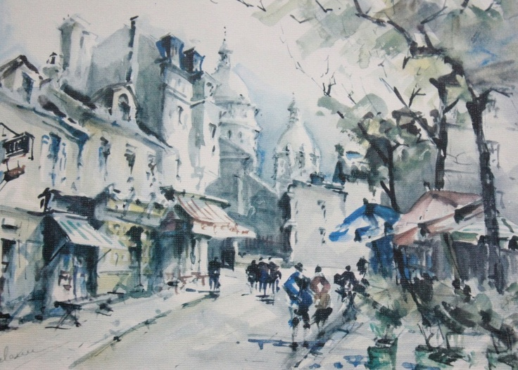 Vintage Paris Watercolor Print // Place Du Tertre // Pastel French Artwork  Matted And Framed // Painting By DeLarue