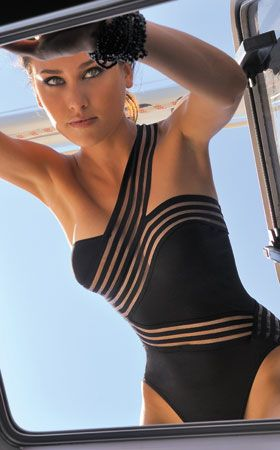 badingsuit with cool see through effect  bathing suit bikini one piece swimwear swimsuit summer beach black