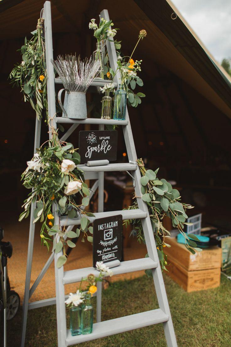 Vintage Step Ladder Wedding Decor - Frances Sales Photography | Peach Rustic Tipi Wedding