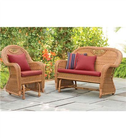 Prospect Hill Outdoor Resin Wicker Furniture Glider Set - Chair Glider And Love Seat Glider