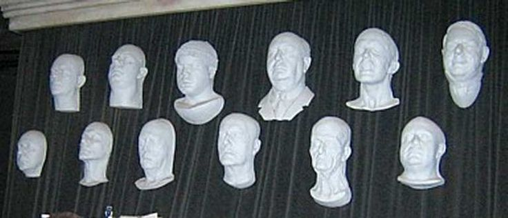 Busts from left to right, life masks are...  Top Row: Boris Karloff, Tor Johnson, Ice Cube, Alfred Hitchcock, Michael Burnett (make up artist who worked on the show) and WC Fields.  Bottom Row: Bela Lugosi, Roddy McDowell (Planet of the Apes), Clu Gulager (Return of the Living Dead), John Williams (character actor from 40's/50's), David Bowie (The Hunger) and Danny DeVito.