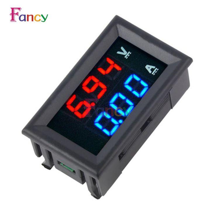"""Mini Digital Voltmeter Ammeter DC 100V 10A Panel Amp Volt Voltage Current Meter Tester 0.28"""" Blue + Red Dual LED Display"""