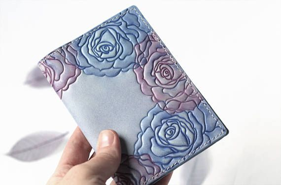 Leather Passport Cover  Pink Blue Roses Passport Holder