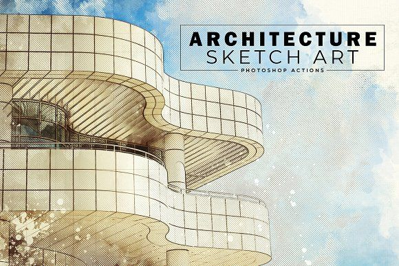 Architecture Sketch Art Ps Actions By Creativetacos On