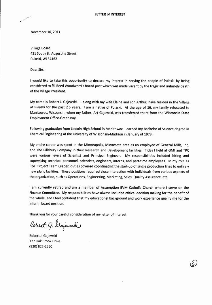 Letter Of Interest For Employment Inspirational 9 Letters Of Interest Free Letter Of Interest Template Personal Reference Letter Professional Reference Letter