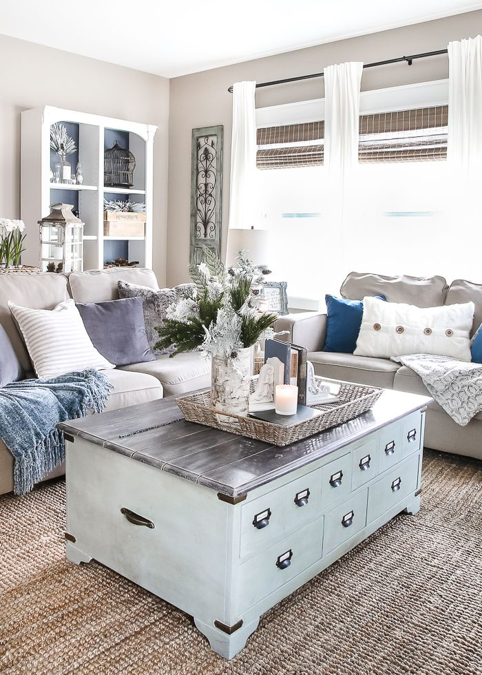 After-Christmas Winter Mantel and Living Room | blesserhouse.com - A tour of an after-Christmas winter mantel and living room with thrifty ideas and creative budget decor to help bring warmth and life to your home. popular pins